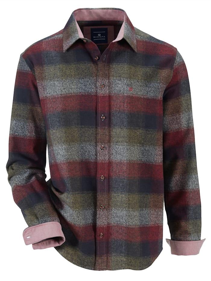 BABISTA Overhemd, Olijf/Rood/Blauw