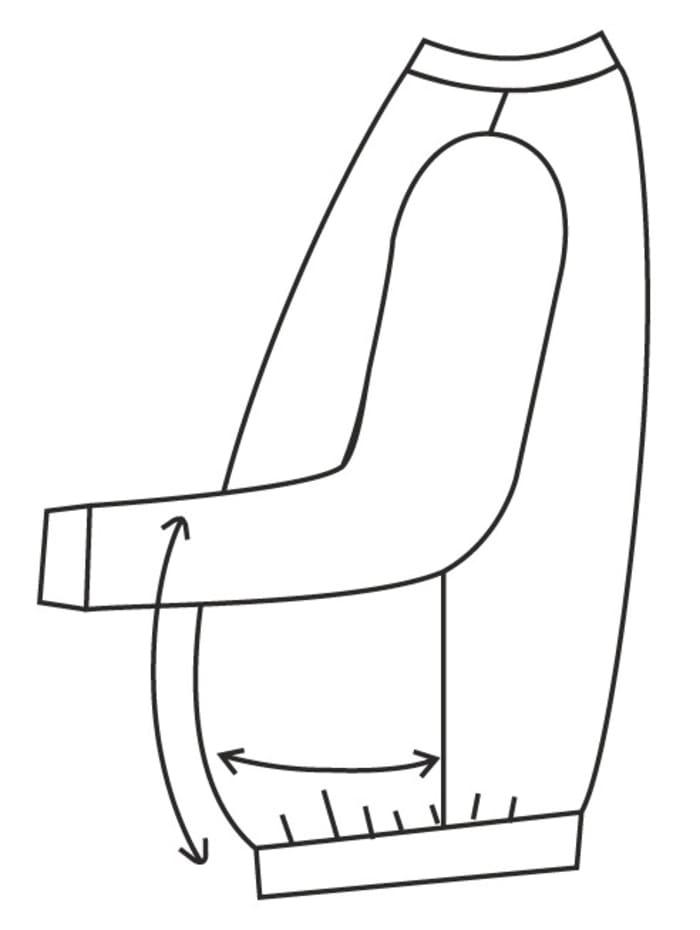 Lång jacka med extra utrymme för magen