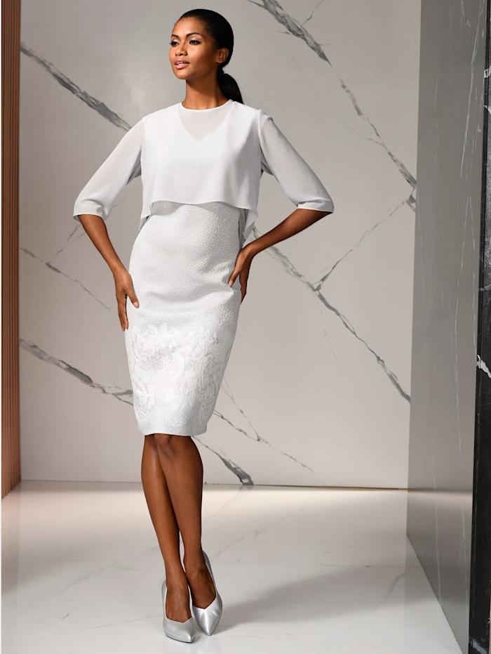 Alba Moda Kleid mit Chiffonüberwurf, Silberfarben