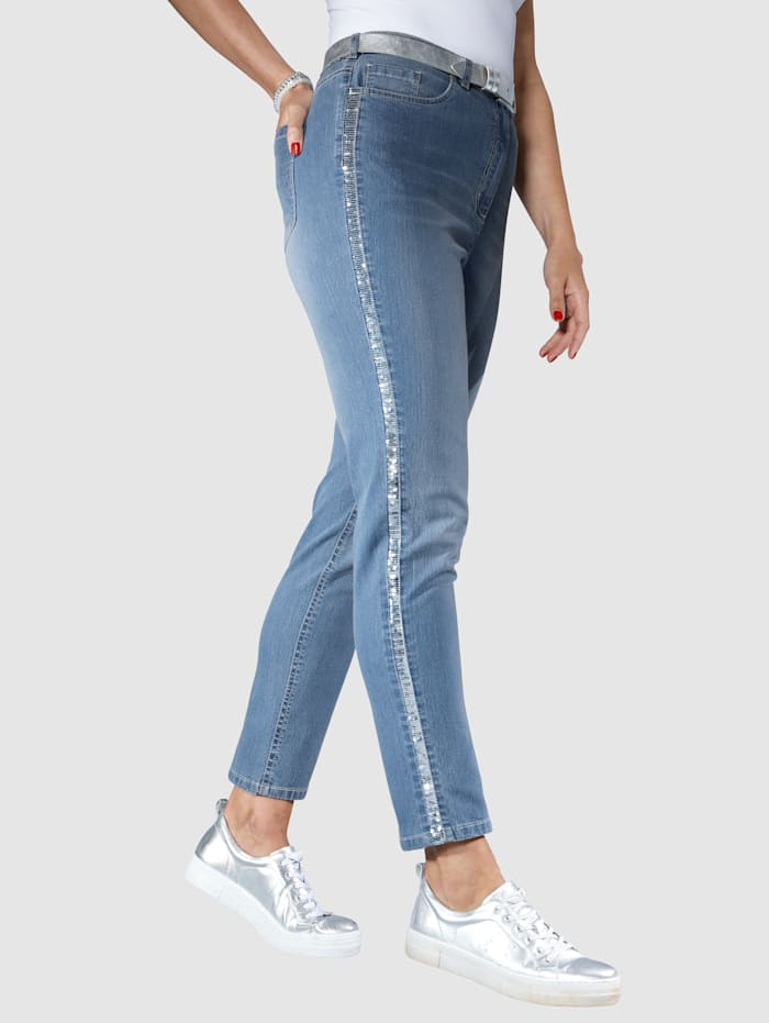 MIAMODA Jeans mit glitzerndem Paillettenband seitlich, Blue bleached