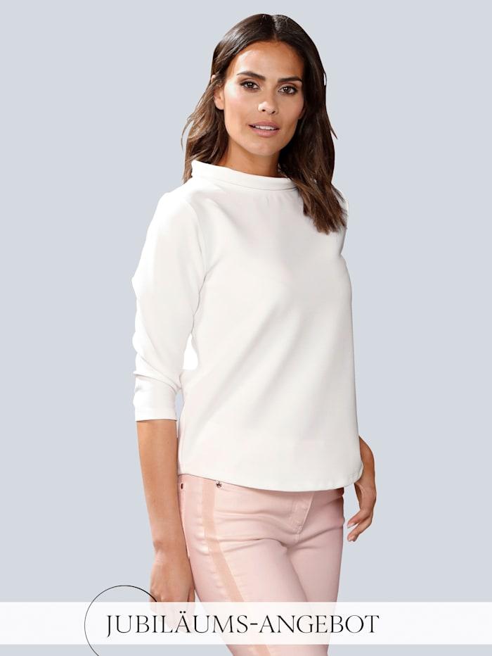 Alba Moda Shirt mit weitem Stehkragen, Off-white