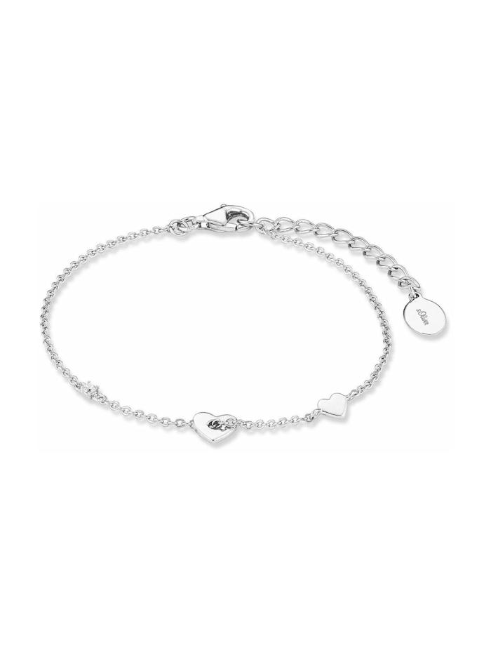 s.Oliver Armband für Damen, Sterling Silber 925, Zirkonia Herz, Silber