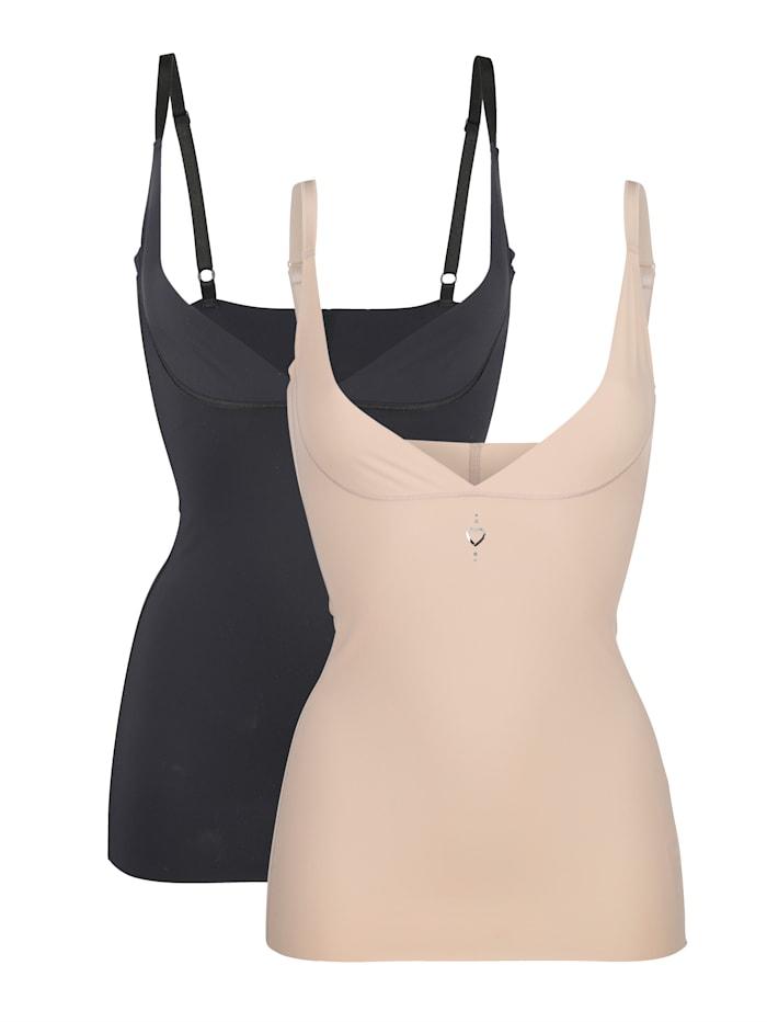Cybèle Corrigerend hemdje met Shape-effect, Zwart/Nude