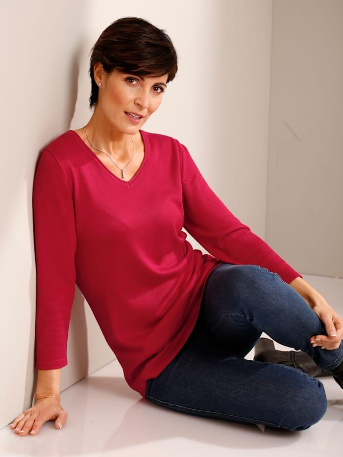 Paola Pullover mit Rollkante am Ausschnitt, Rot