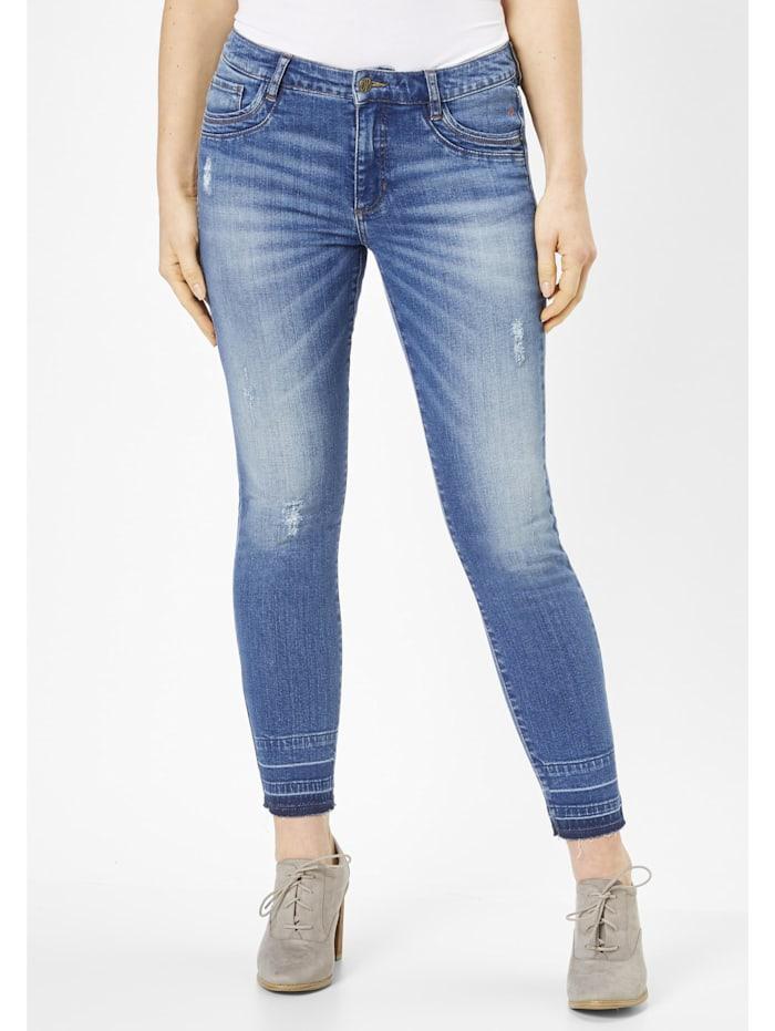 Paddock's 7/8 Jeans mit aufgetrenntem Saumen LUCA, mid blue