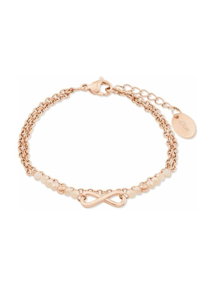 s.Oliver Armband für Damen, Edelstahl, Glas Infinity, Apricot