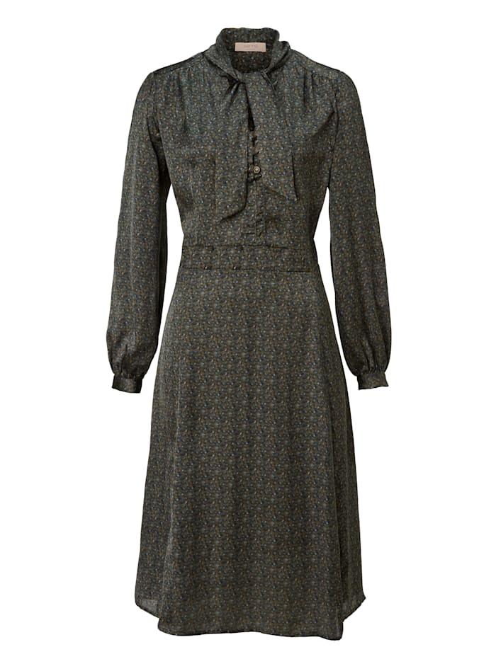 SIENNA Robe avec lavallière et imprimé minimaliste, Olive/Bleu ciel