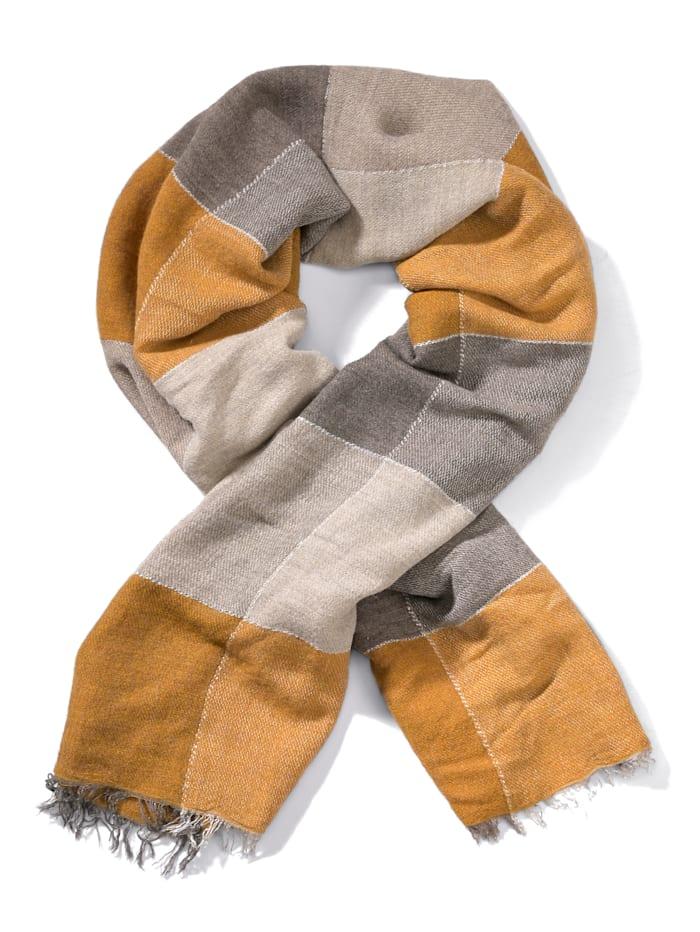 Alba Moda Schal aus weicher Qualität, Senfgelb/Grau