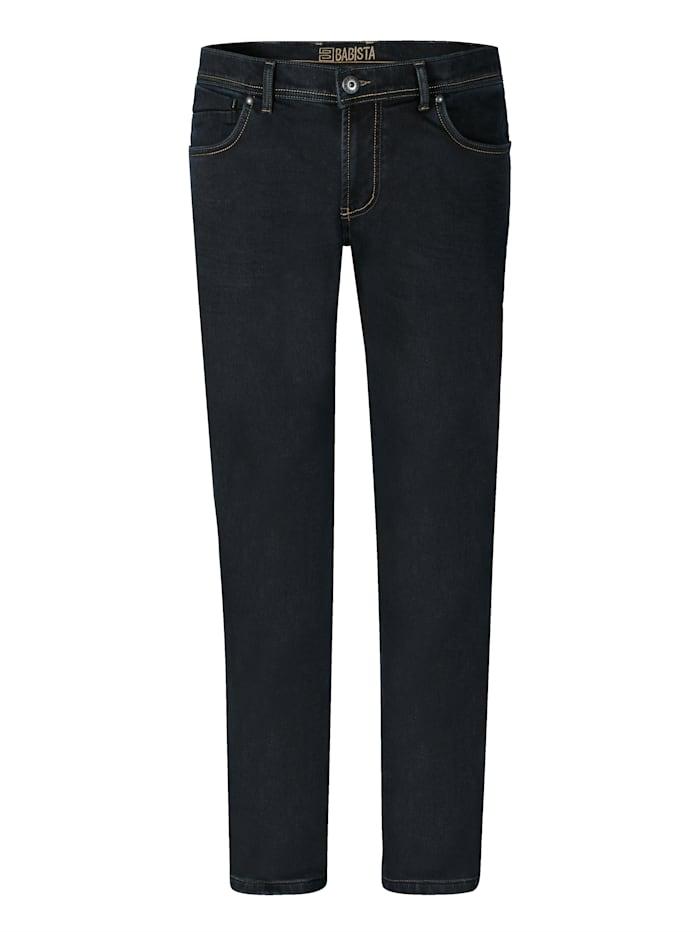 BABISTA Jeans met warme flanel binnenin, Donkerblauw