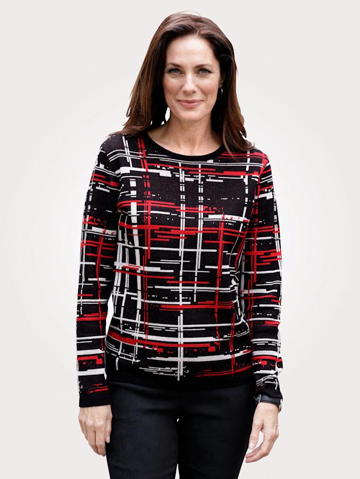 MONA Pullover in Jaquard-Qualität, Schwarz/Rot/Ecru