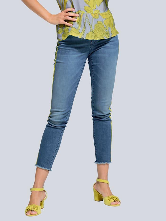 Alba Moda Jeans mit farbig abgesetztem Galonstreifen, Blau/Limettengrün