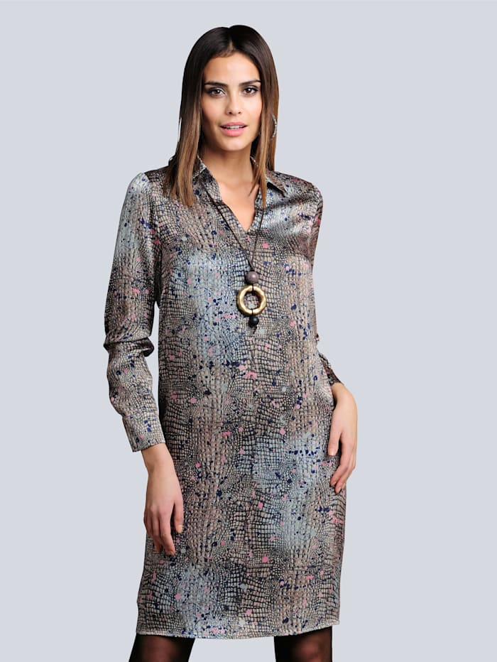 Alba Moda Kleid im abstrakten Animaldessin allover, Taupe/Stein
