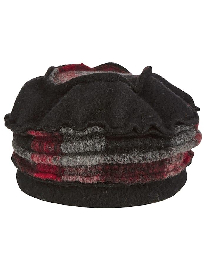 MONA Chapeau en laine foulée, Rouge/Gris