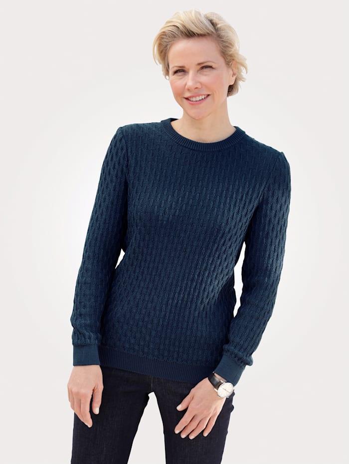 MONA Pullover mit Strukturstrick, Marineblau