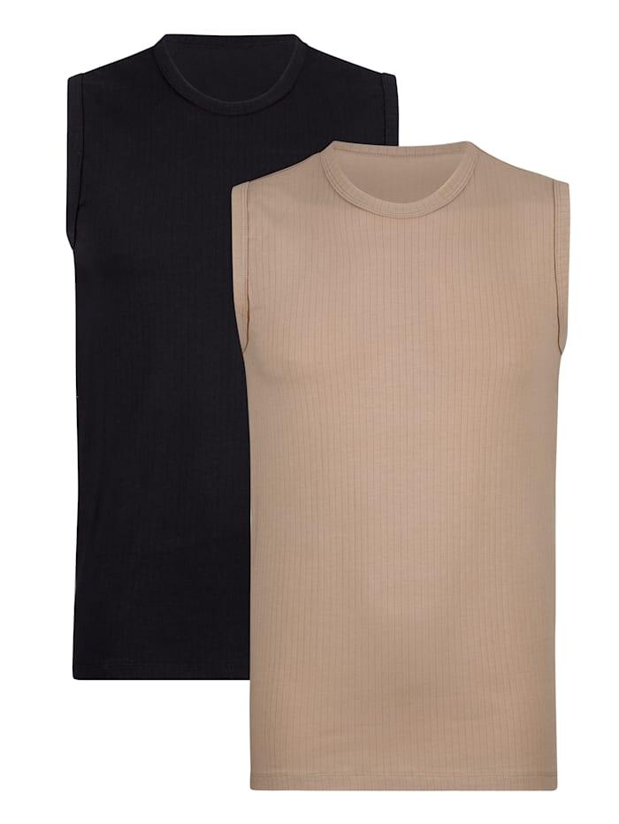 BABISTA City tričká - 2 kusy s ihličkovými prúžkami, Čierna/Telová