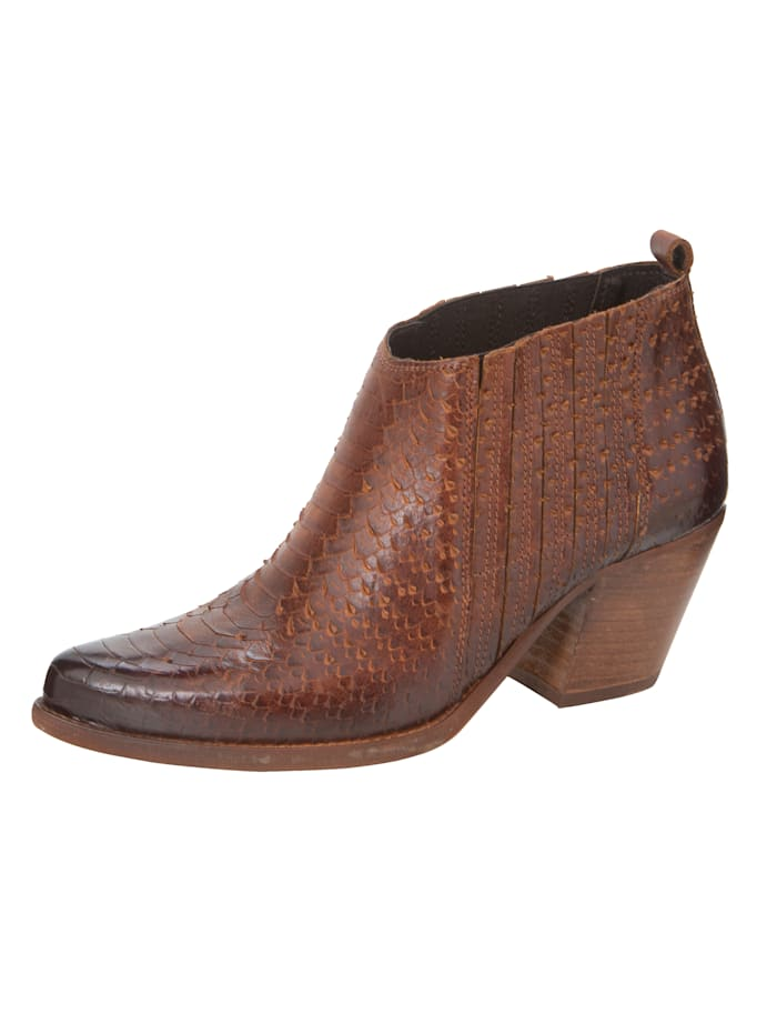 ROCKGEWITTER Ankle Boot in trendstarker Western-Optik, Dunkelbraun