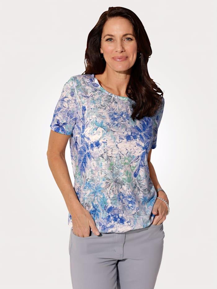 MONA Shirt in floralem Druckdessin, Blau/Türkis/Grün