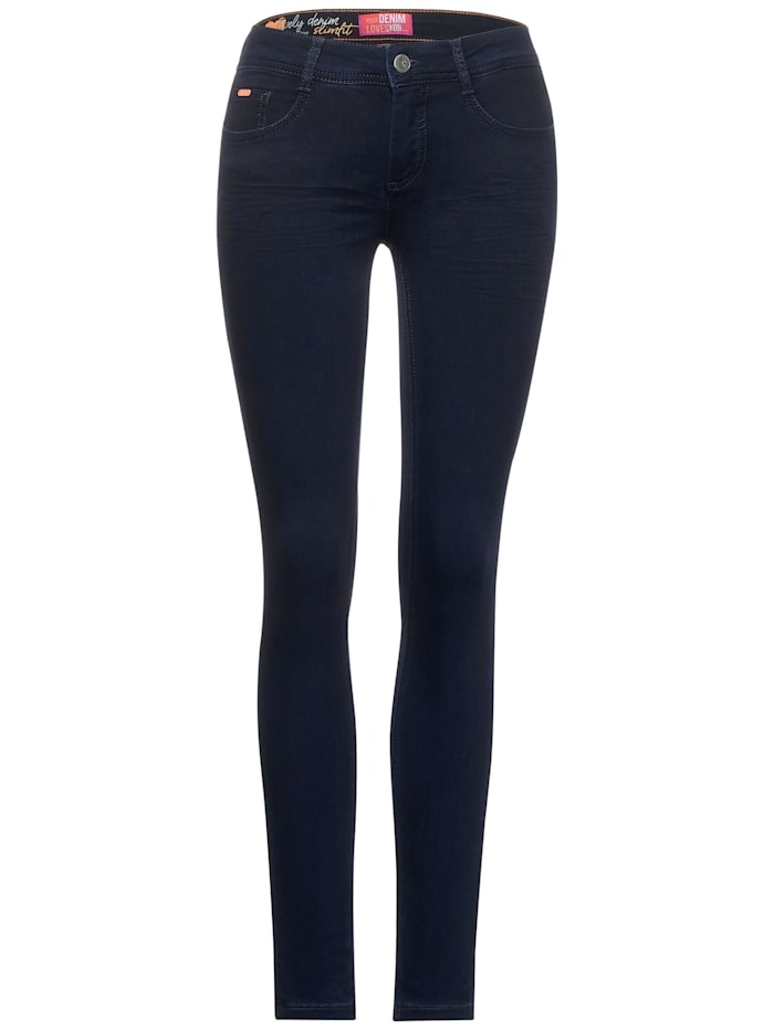 Street One Dunkelblaue Slim Fit Denim, dark blue rinsed optic