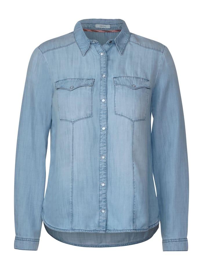 Cecil Hemdbluse aus Lyocell, mid blue used wash