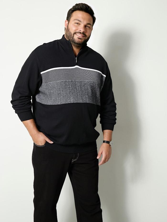 Men Plus Pullover Spezialschnitt, Schwarz/Weiß