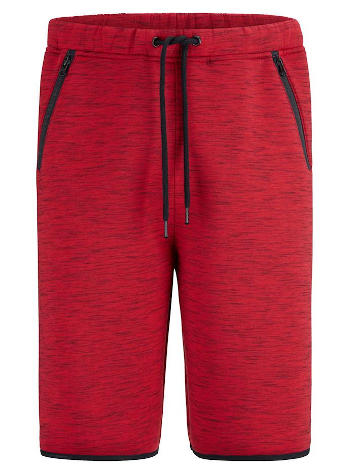 Men Plus Sweat bermudy s gumovou pásovkou a šnúrkou, Červená/Čierna