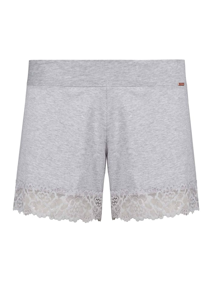 Skiny Shorts mit Spitzen-Saum, Stone Grey Melange