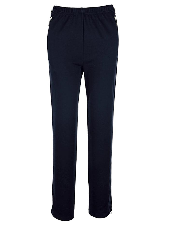 Harmony Pantalon de loisirs avec longue glissière sur les côtés, Marine