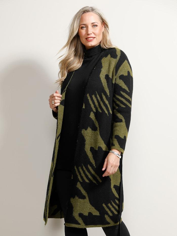 MIAMODA Vest met 2 draagvarianten, Kaki/Zwart