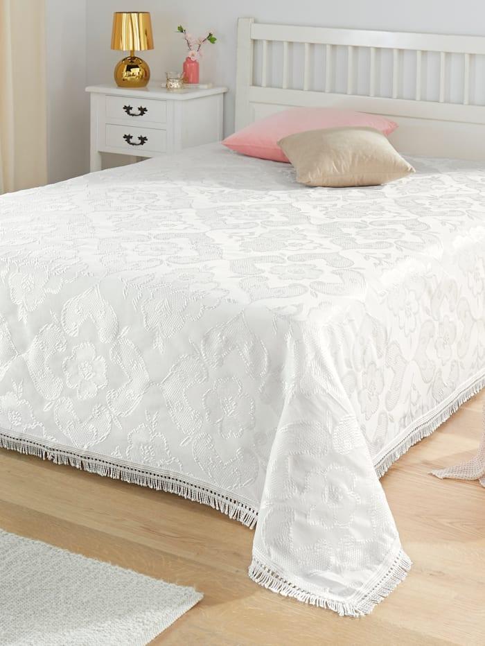 Webschatz Bettüberwurf 'CORA', creme