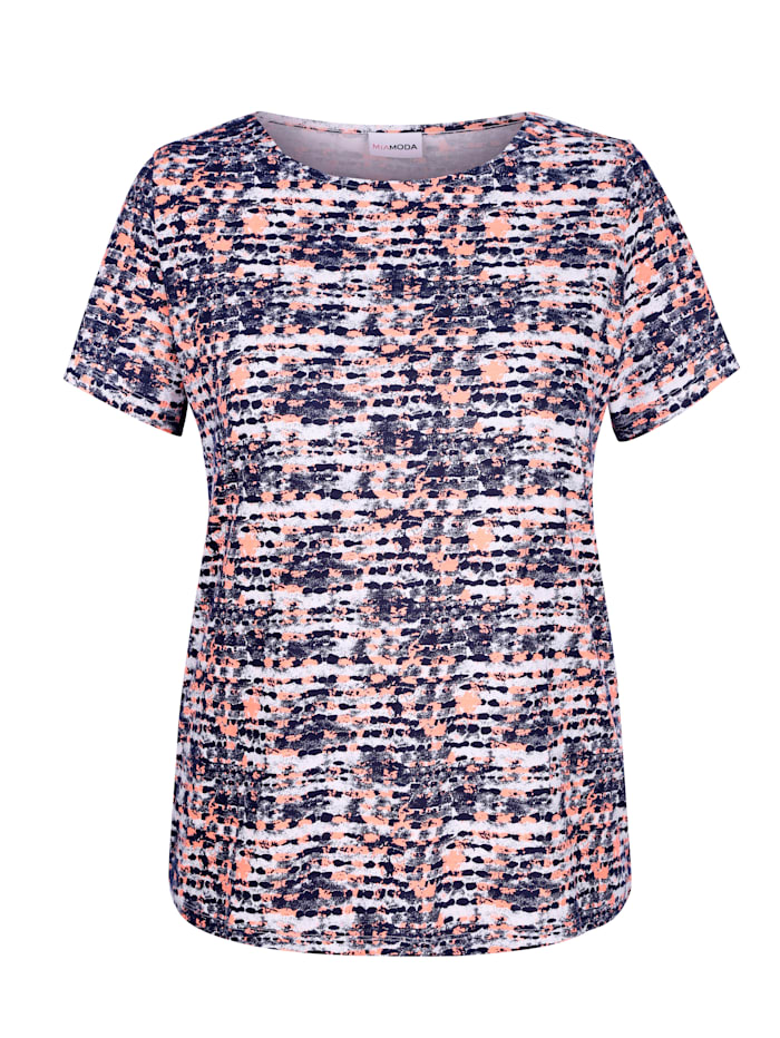 MIAMODA Shirt femininem Ausschnitt, Blau