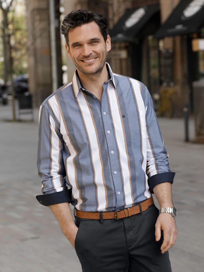 BABISTA Overhemd met ingeweven streepdessin, Blauw/Bruin/Wit