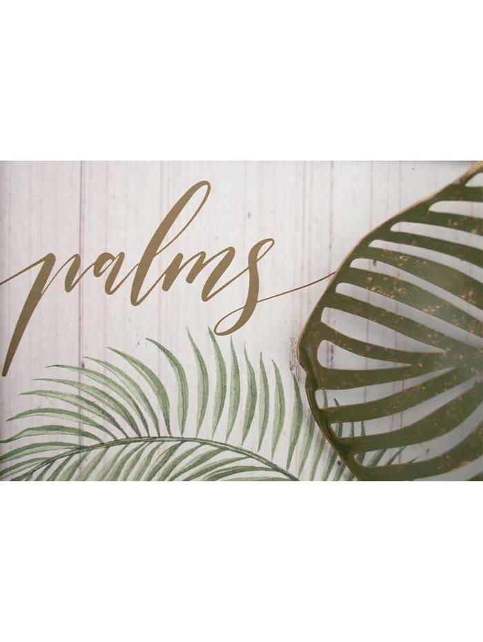 NTK-Collection Wanddeko Palms, Grau, Gold, Grün