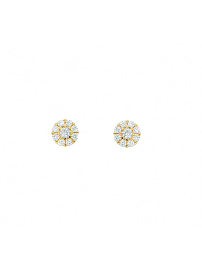 1001 Diamonds Damen Goldschmuck 585 Gold Ohrringe / Ohrstecker mit Zirkonia, gold
