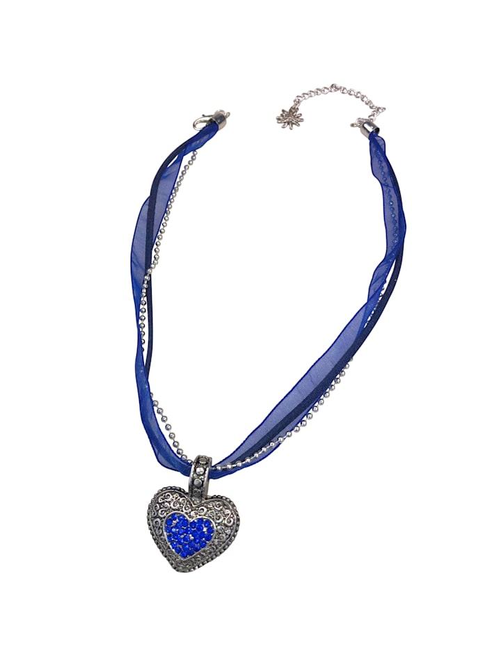 Allgäu Rebell Halskette für Tracht Lissi mit Herzanhänger, blau