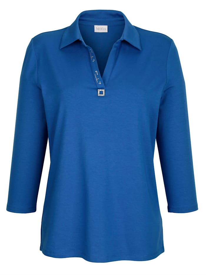 Polo shirt with rhinestone buckle detail