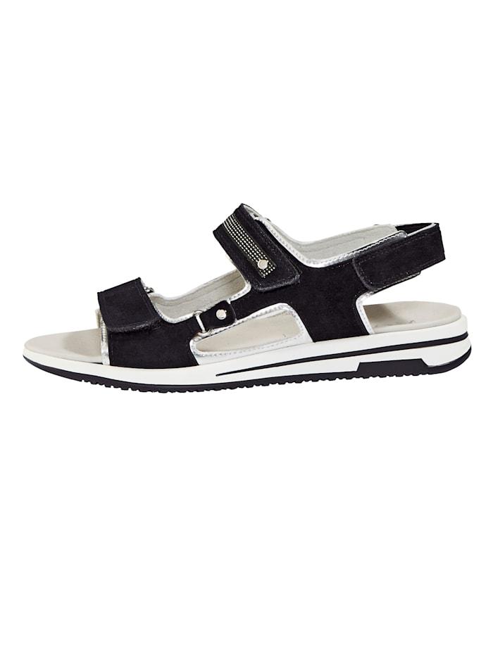 Sandales à brides auto-agrippantes avec bandes brillantes