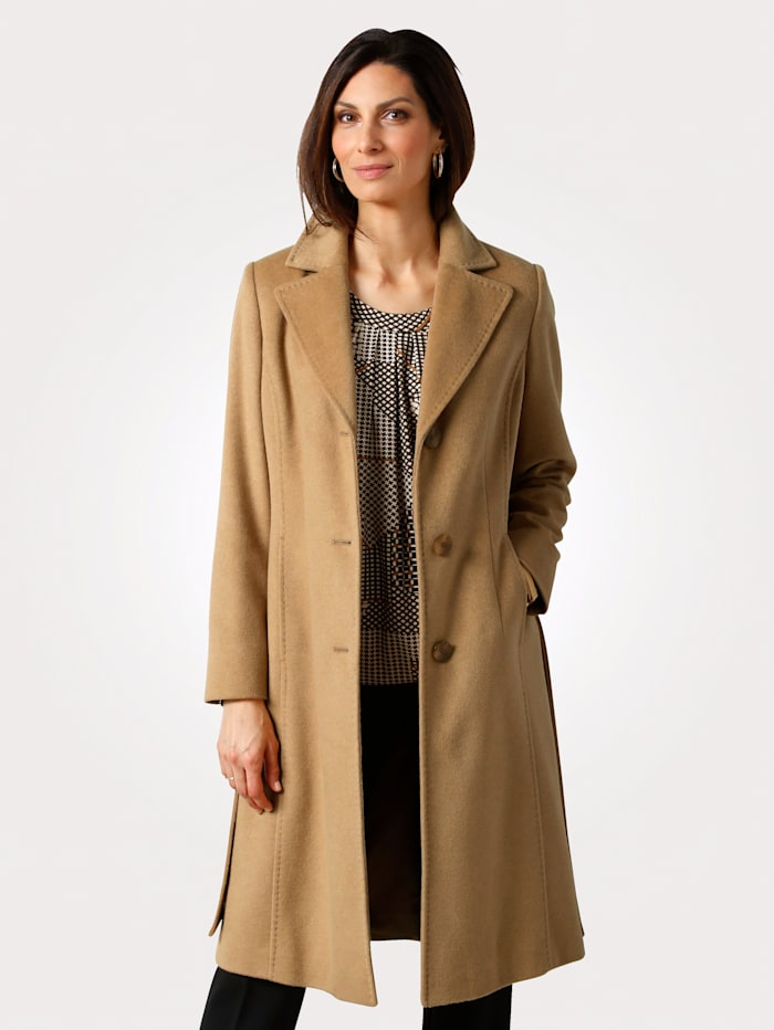 MONA Coat with a tie waist, Camel