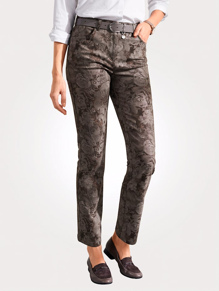 Relaxed by Toni Trousers in an allover floral print, Burnt Orange/Taupe