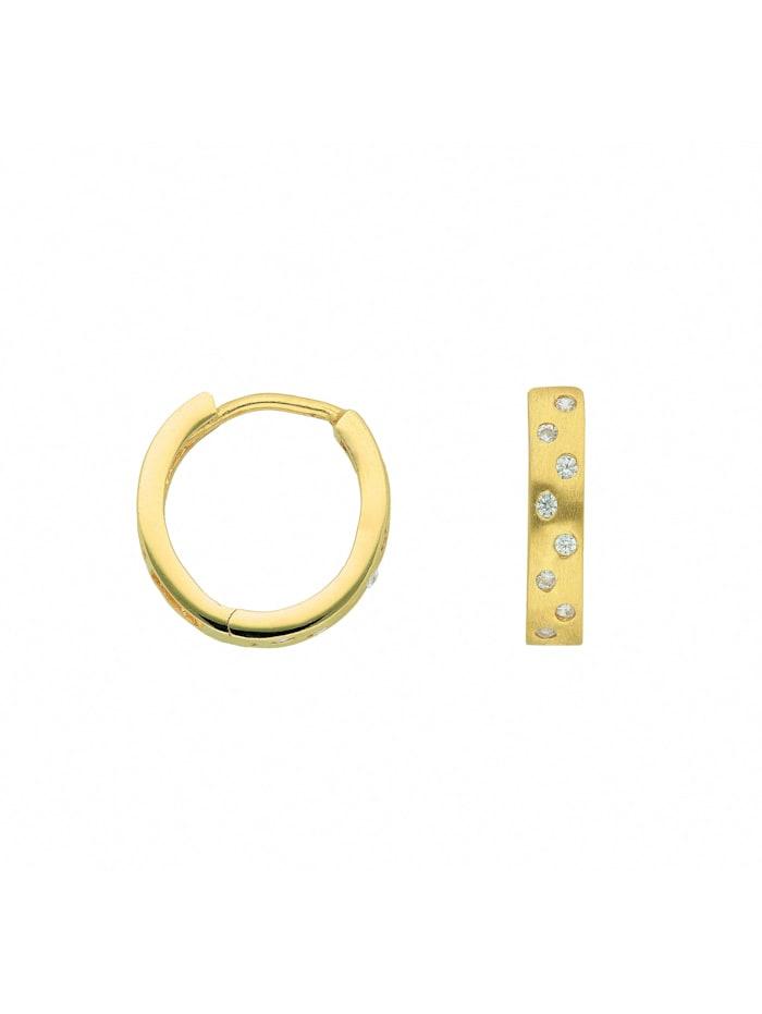 1001 Diamonds Damen Goldschmuck 585 Gold Ohrringe / Creolen mit Zirkonia Ø 12,8 mm, gold