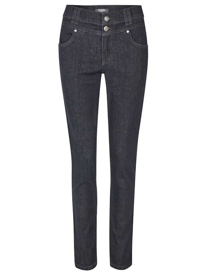 Angels Jeans 'Skinny Button' mit Doppelknopf-Verschluss, rinse night blue