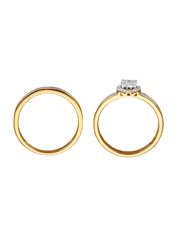 2tlg. Ring-Set mit Brillanten