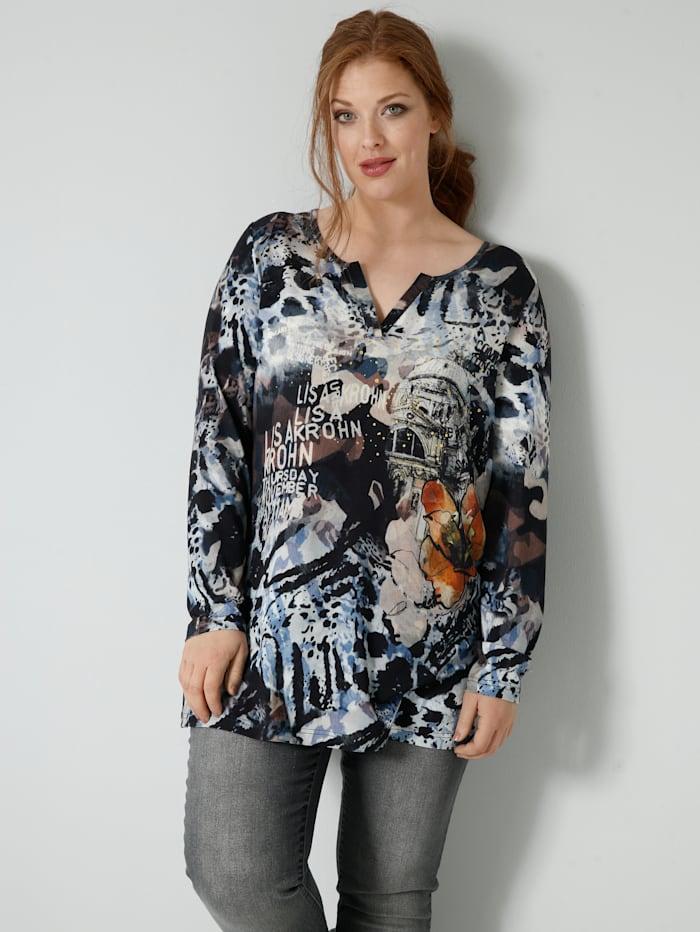 Sara Lindholm Shirt met folieprint, Zwart/Bruin