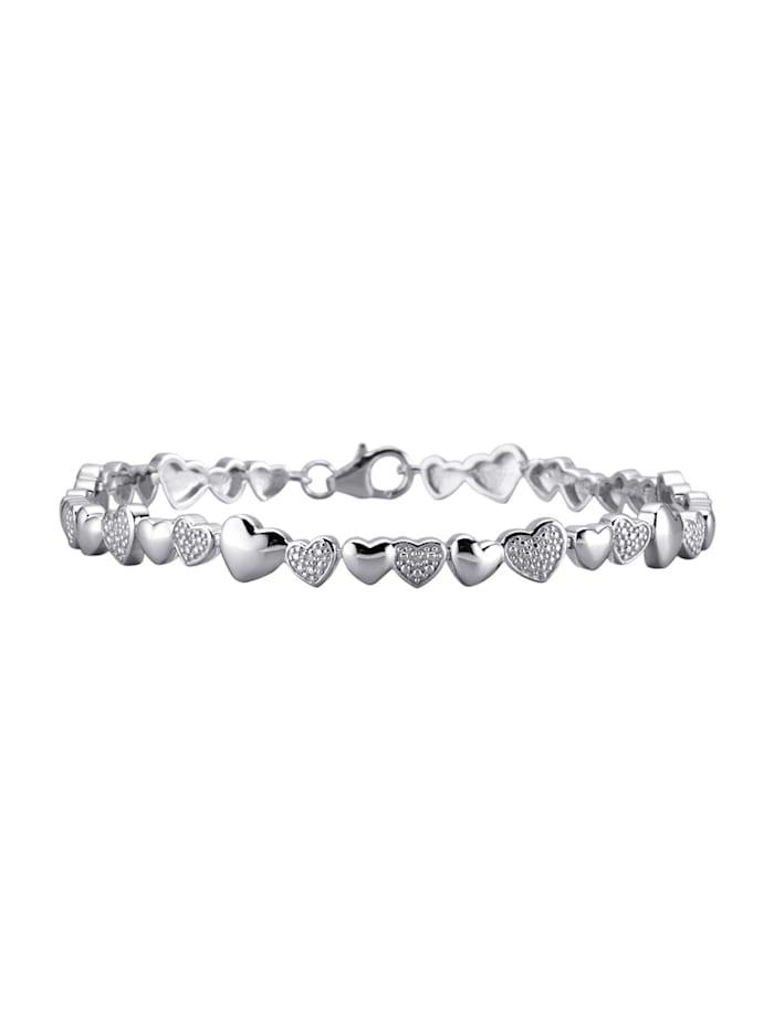 Bracelet avec diamants, Coloris argent