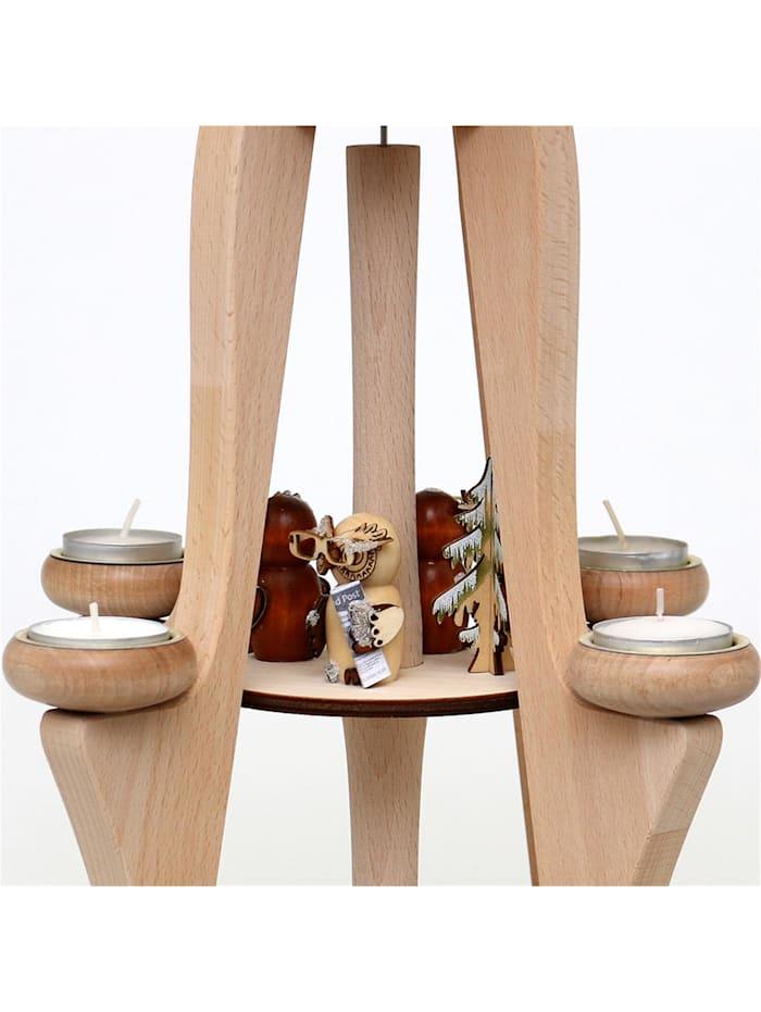 Sigro Holz Tischpyramide Eulenwald, 8 Teelichter, Holz