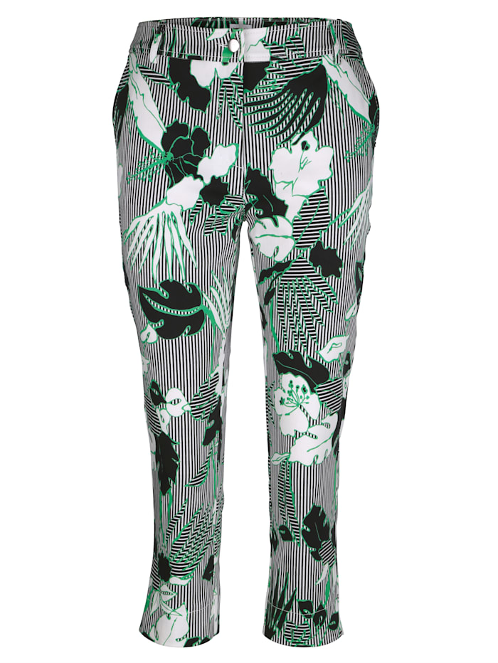 Capri trousers with floral design