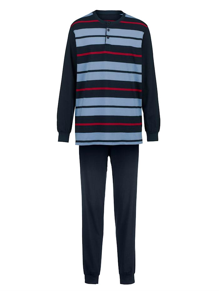Roger Kent Pyjamas med garnfärgade ränder, Marinblå/Ljusblå/Röd