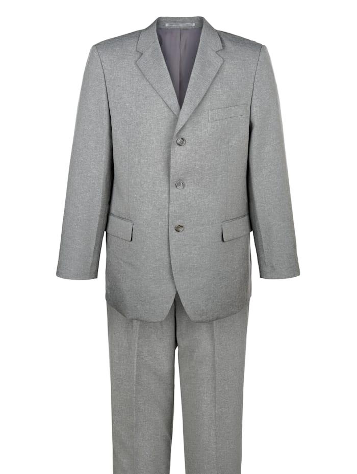 Roger Kent Kostym i 4 delar (kavaj, väst och två par byxor), Silvergrå/Svart