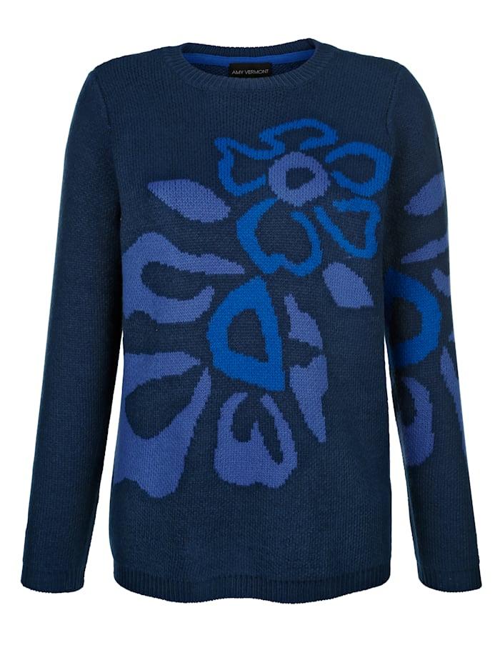 Pullover mit Blumenintarsien