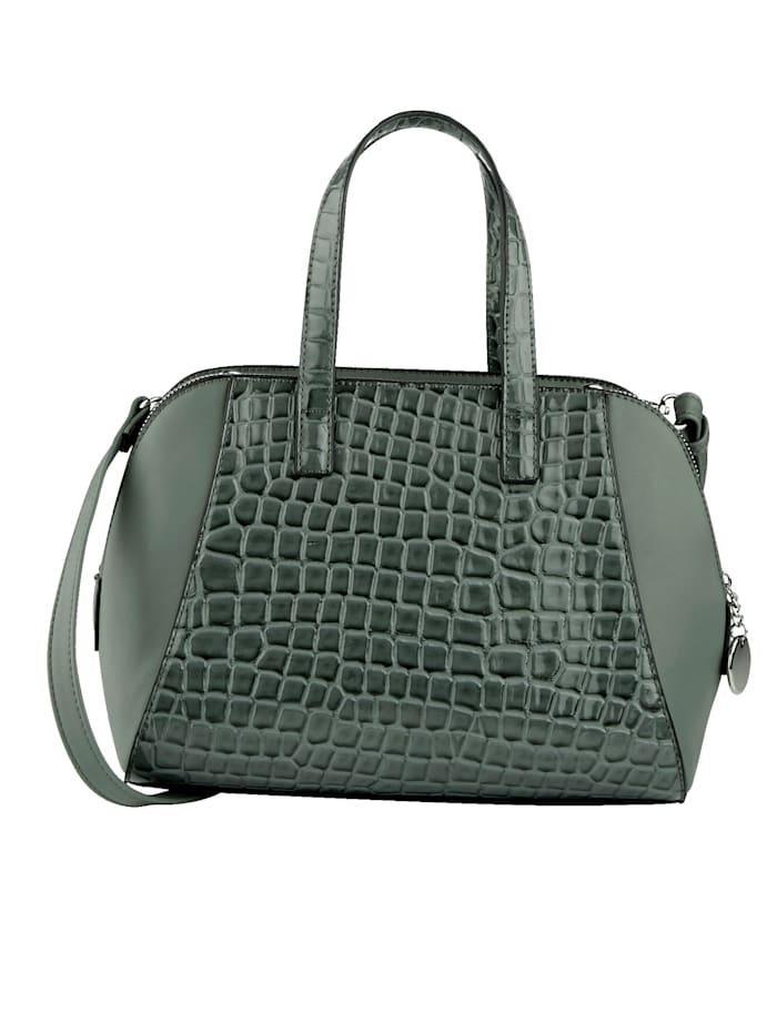 Handväska med krokopräglat mönster