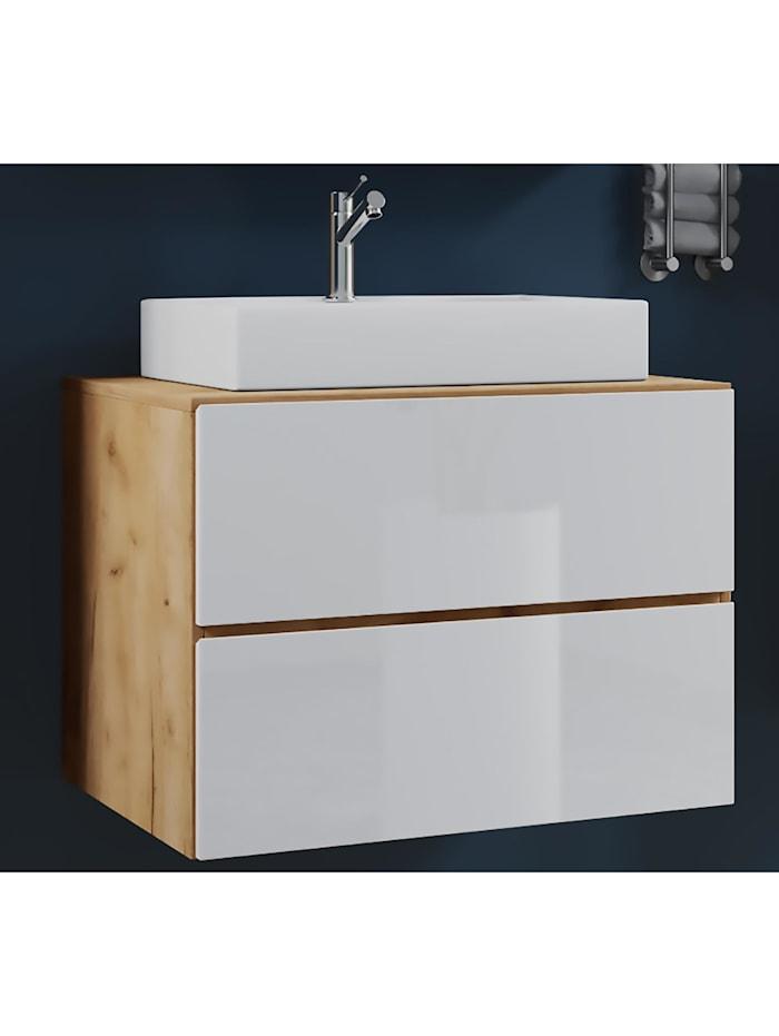 VCM 2-tlg. Waschplatz Waschtisch Lendas Schublade, Breite 60 cm: Honig-Eiche/Weiß